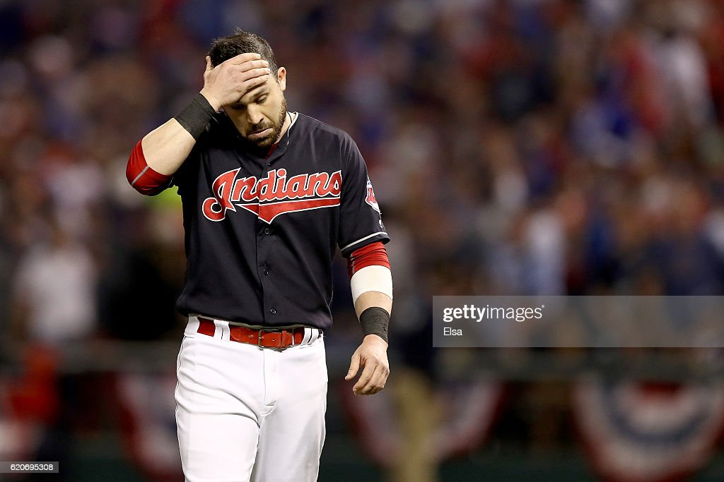 Jason Kipnis #22 of the Cleveland Indians reacts against the Chicago Cubs in Game Seven of the 2016 World Series at Progressive Field on November 2, 2016 in Cleveland, Ohio.