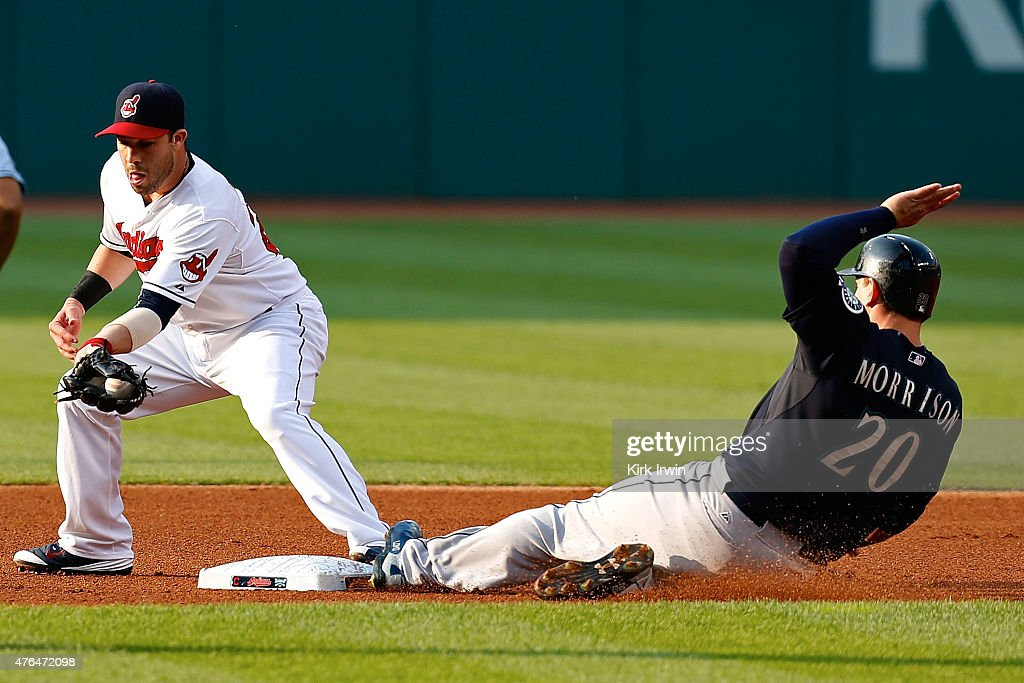 Jason Kipnis #22 of the Cleveland Indians tags second base to force out Logan Morrison #20 of the Seattle Mariners during the first inning at Progressive Field on June 9, 2015 in Cleveland, Ohio.