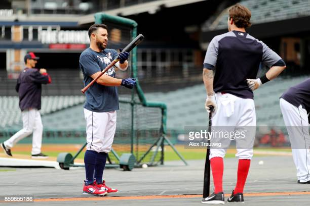 Jason Kipnis speaks with Tyler Naquin of the Cleveland Indians before the game against the Kansas City Royals at Progressive field on Thursday...