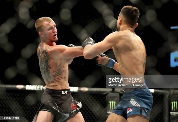 Jason Knight in action with Makwan Amirkhani during UFC Fight Night at the Liverpool Echo Arena