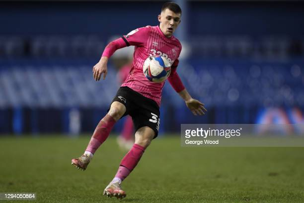 Jason Knight of Derby County in action during the Sky Bet Championship match between Sheffield Wednesday and Derby County at Hillsborough Stadium on...