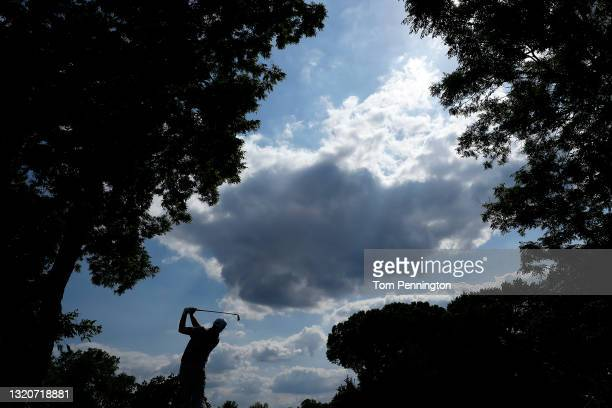 Jason Kokrak hits his tee shot on the 13th hole during the third round of the Charles Schwab Challenge at Colonial Country Club on May 29, 2021 in...
