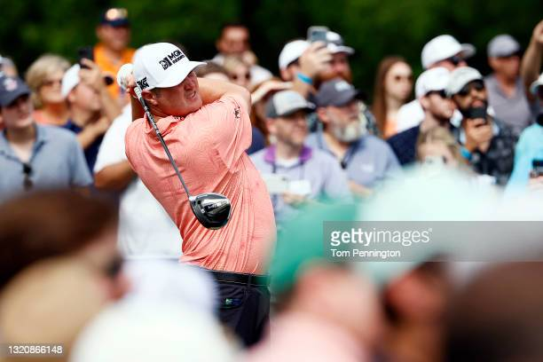 Jason Kokrak hits his tee shot on the 14th hole during the final round of the Charles Schwab Challenge at Colonial Country Club on May 30, 2021 in...