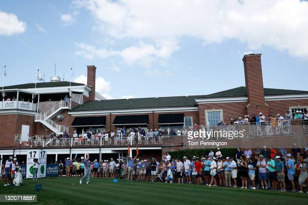 Jason Kokrak hits his tee shot on the 17th hole during the third round of the Charles Schwab Challenge at Colonial Country Club on May 29, 2021 in...