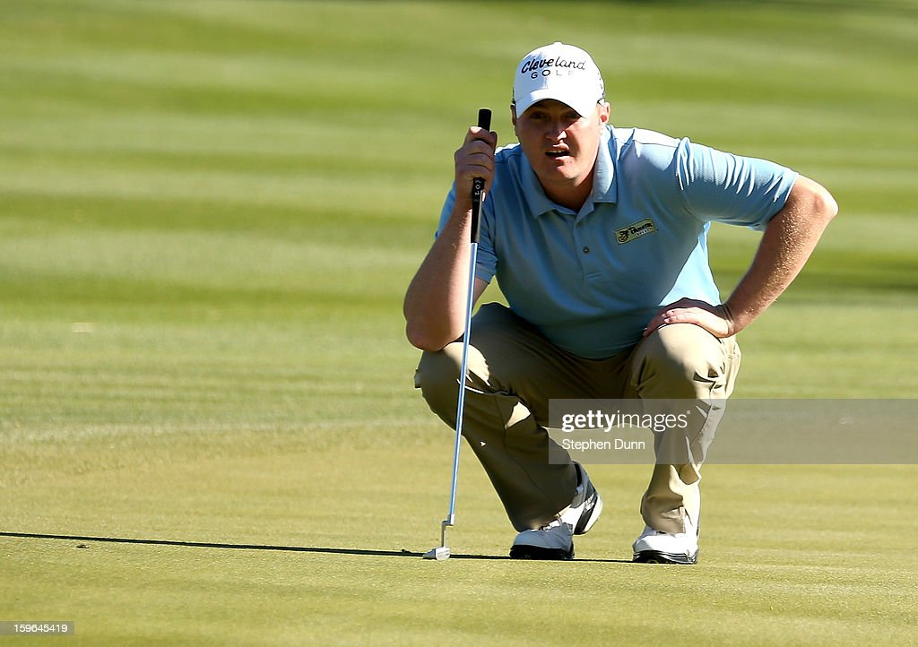Jason Kokrak lines up his putt on the 17th hole during the first round of the Humana Challenge in partnership with the Clinton Foundation at La Quinta Country Club on January 17, 2013 in La Quinta, California.