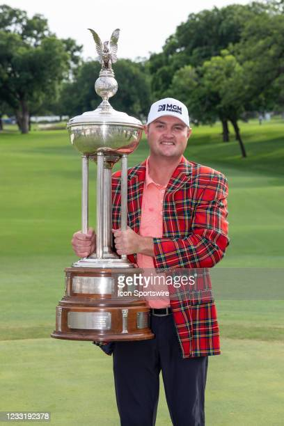 Jason Kokrak poses with trophy after winning the Charles Schwab Challenge on May 30, 2021 at Colonial Country Club in Fort Worth, TX.