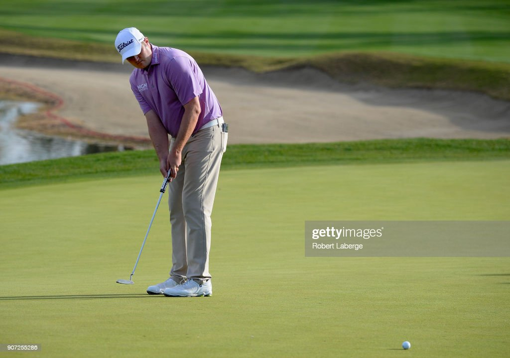 Jason Kokrak putts on the 18th hole during the second round of the CareerBuilder Challenge at the Jack Nicklaus Tournament Course at PGA West on January 19, 2018 in La Quinta, California.