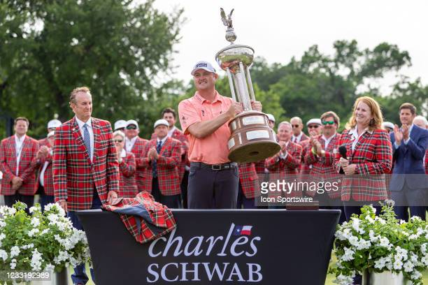 Jason Kokrak receives the trophy after winning the Charles Schwab Challenge on May 30, 2021 at Colonial Country Club in Fort Worth, TX.
