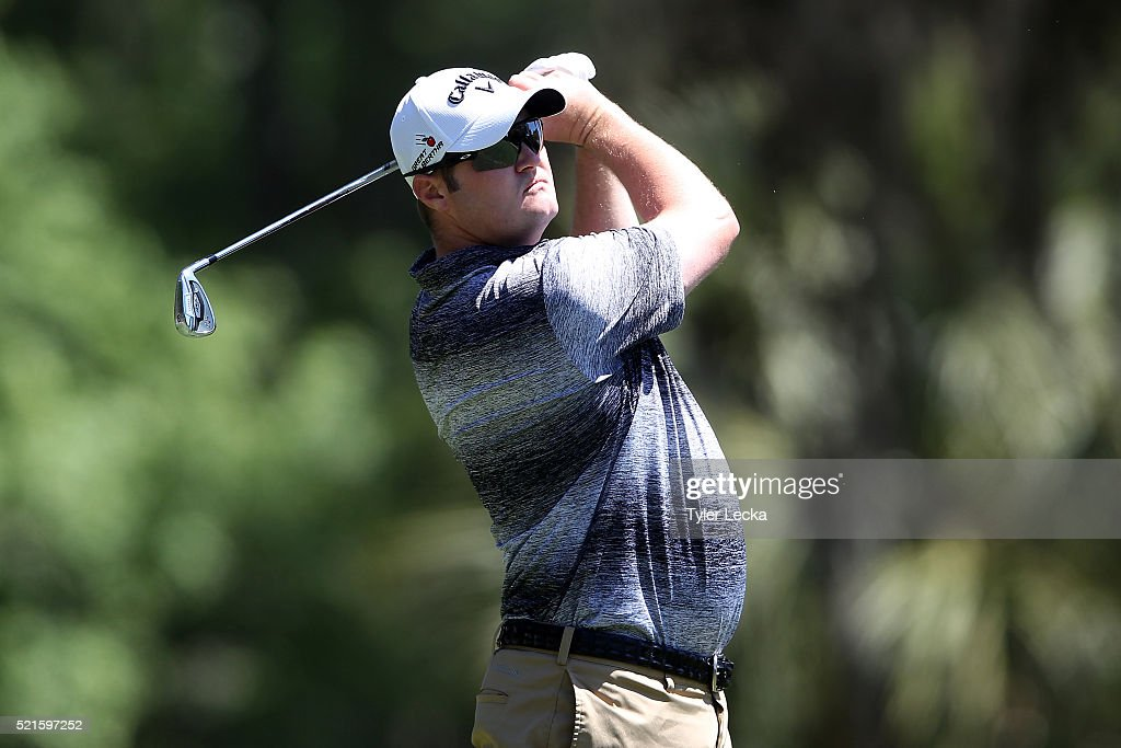 Jason Kokrak tees off on the seventh hole during the third round of the 2016 RBC Heritage at Harbour Town Golf Links on April 16, 2016 in Hilton Head Island, South Carolina.