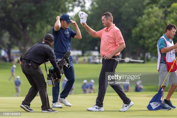 Jason Kokrak tips his hat to the gallery after winning the Charles Schwab Challenge on May 30, 2021 at Colonial Country Club in Fort Worth, TX.