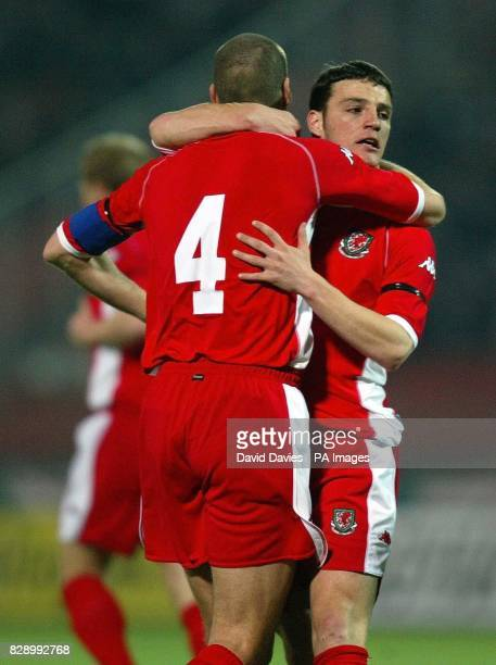 Jason Koumas celebrates scoring Wales first goal against Hungary with Andrew Melville during their friendly international at Ferenc Puskas Stadium...