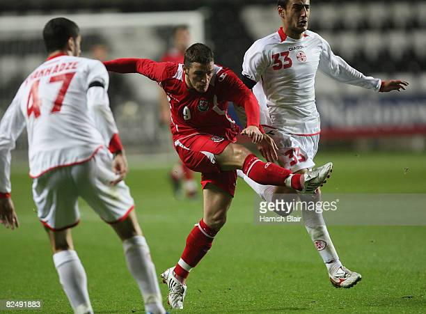 Jason Koumas of Wales in action during the International Friendly match between Wales and Georgia at The Liberty Stadium on August 20 2008 in Swansea...