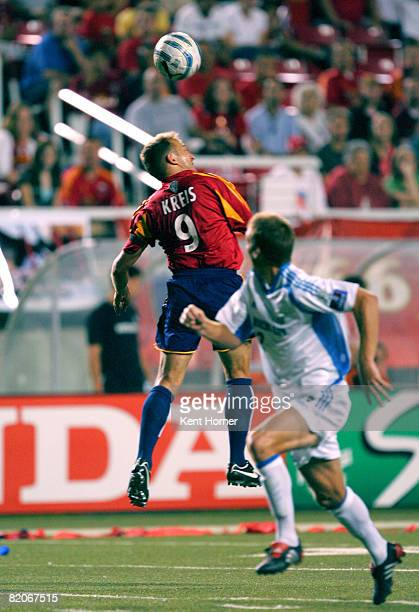 Jason Kreis of Real Salt Lake heads the ball against the Kansas City Wizards during their match on Saturday August 13 2005 at RiceEccles Stadium in...