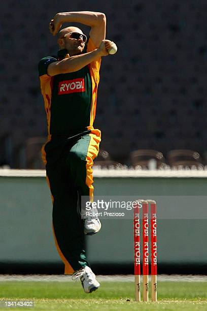 Jason Krejza of the Tigers bowls during the Ryobi One Day Cup match between the Victoria Bushrangers and the Tasmania Tigers at Melbourne Cricket...