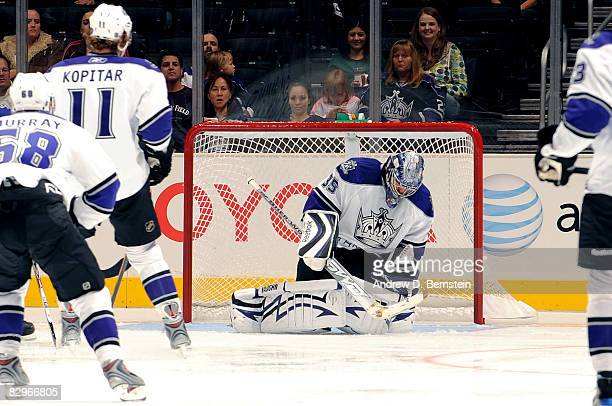 Jason LaBarbera of the Los Angeles Kings stops a goal in the first period against the Phoenix Coyotes during the game on September 22 2008 at Staples...