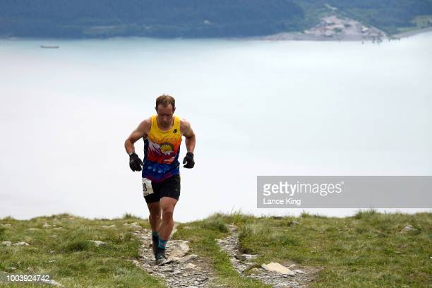Jason Lamoreaux approaches the top of Mount Marathon during the Men's Division of the 91st Running of the Mount Marathon Race on July 4 2018 in...