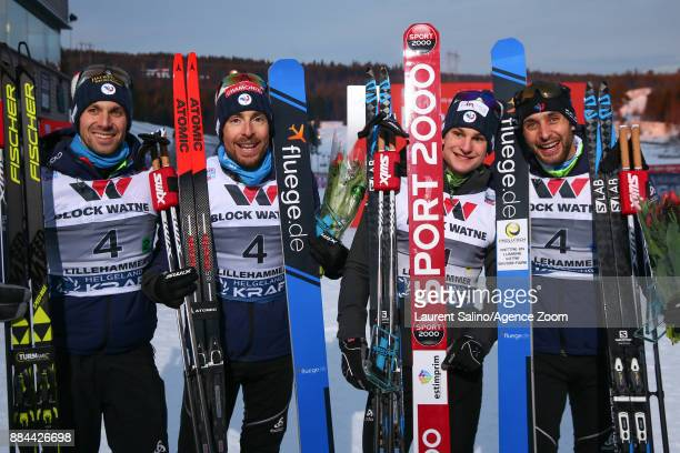 Jason Lamy Chappuis Francois Braud Maxime Laheurte Antoine Gerard take 3rd place during the FIS Nordic World Cup Men's and Women's Nordic Combined...