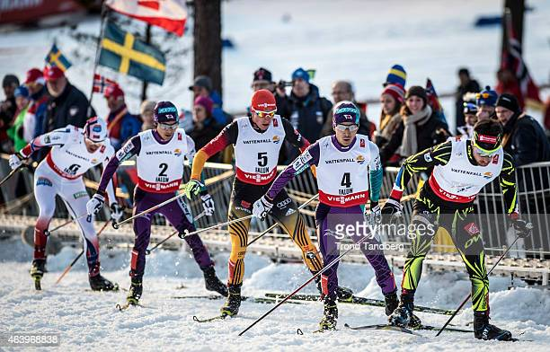 Jason Lamy Chappuis of France Akito Watabe of Japan Johannes Rydzek of Germany Yoshito Watabe of Japan and Haavard Klemetsen compete in the Mens...
