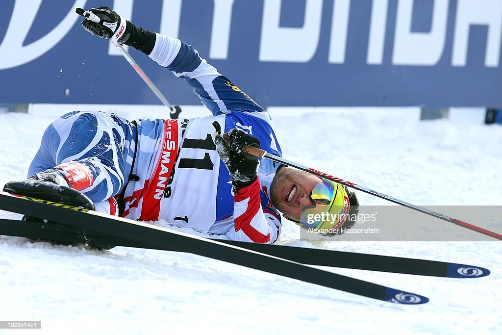 Jason Lamy Chappuis of France celebrates winning the Men's Nordic Combined on February 22, 2013 in Val di Fiemme, Italy.