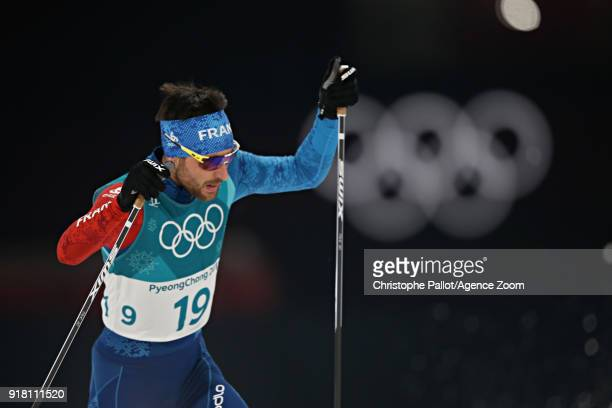 Jason Lamy Chappuis of France in action during the Nordic Combined Normal Hill/10km at Alpensia CrossCountry Centre on February 14 2018 in...