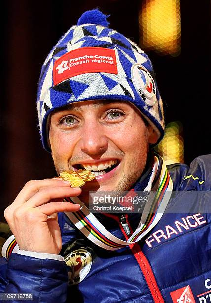 Jason Lamy Chappuis of France poses with the gold medal won in the Nordic Combined HS134/10km during the FIS Nordic World Ski Championships at...