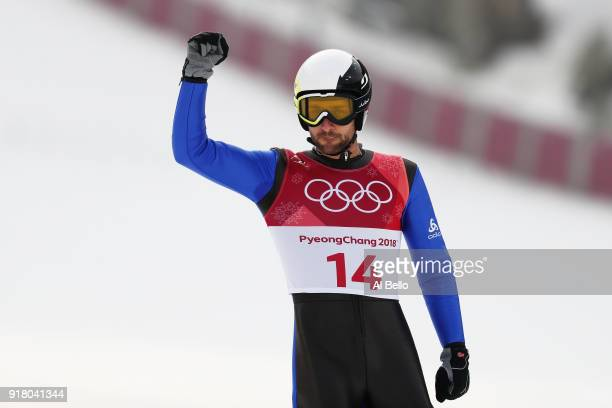 Jason Lamy Chappuis of France reacts after a jump during the Nordic Combined Individual Gundersen Normal Hill and 10km Cross Country on day five of...