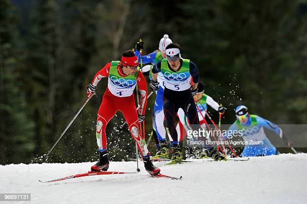 Jason Lamy Chappuis of France takes gold medal, Johnny Spillane of the USA takes Silver Medal during the Nordic Combined Individual NH/10km on Day 3...