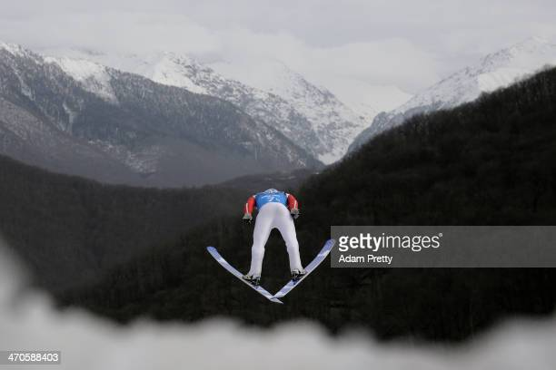 Jason LamyChappuis of France performs a trial jump ahead of the Nordic Combined Men's Team LH during day 13 of the Sochi 2014 Winter Olympics at...