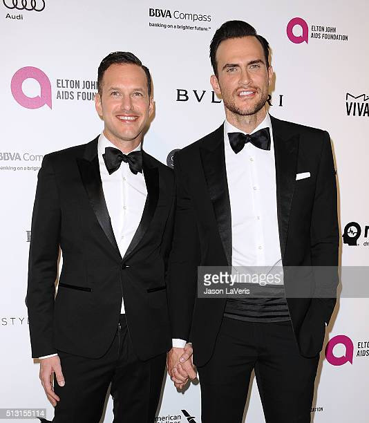 Jason Landau and Cheyenne Jackson attend the 24th annual Elton John AIDS Foundation's Oscar viewing party on February 28, 2016 in West Hollywood,...