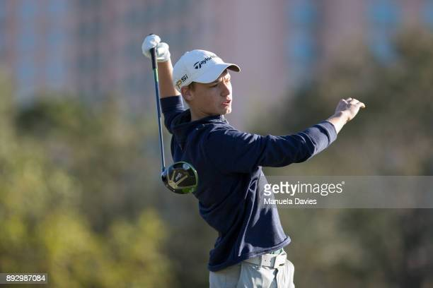 Jason Langer of Germany hits a tee shot on the 10th tee during the first round of the PNC Father/Son Challenge at The RitzCarlton Golf Club on...