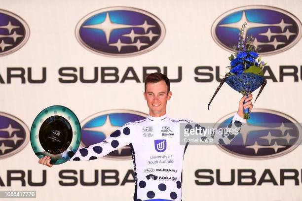 Jason Lea of Australia and Team UniSA-Australia celebrates on the podium during the 21st Santos Tour Down Under 2019, Stage 6 a 151,5km stage from...