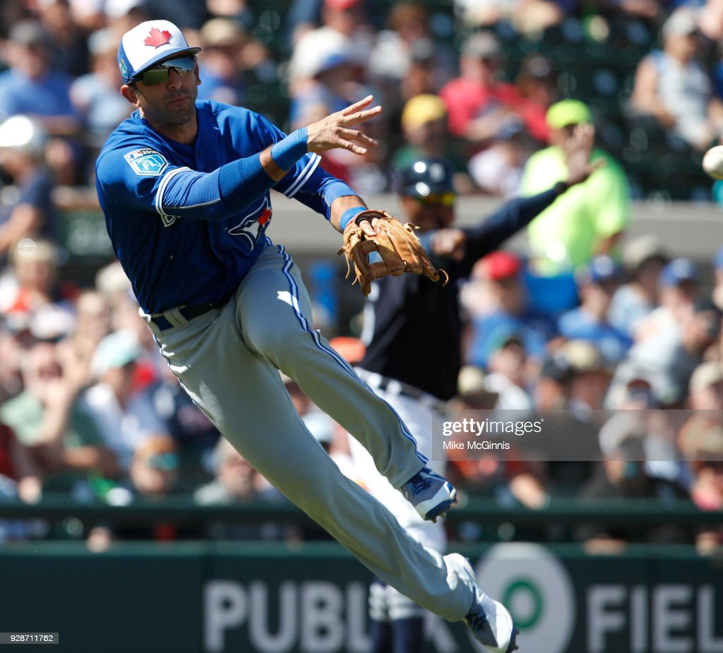 Jason Leblebijian #64 of the Toronto Blue Jays makes the running throw to first base for an out during the third inning of the spring training game against the Detroit Tigers at Joker Marchant Stadium on March 07, 2018 in Lakeland, Florida.