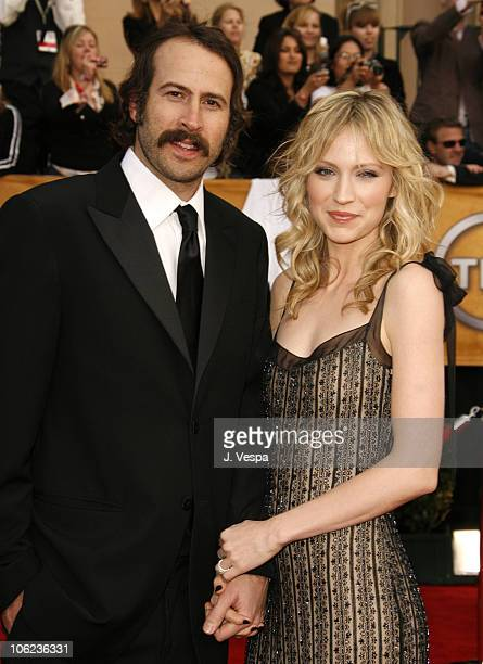 Jason Lee and Beth Riesgraf during 13th Annual Screen Actors Guild Awards Arrivals at Shrine Auditorium in Los Angeles California United States