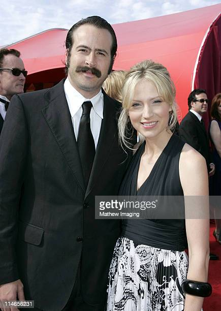 Jason Lee and Beth Riesgraf during 57th Annual Primetime Emmy Awards Red Carpet at The Shrine in Los Angeles California United States