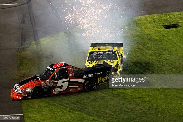 Jason Leffler driver of the Dollar General Toyota and Paulie Harraka driver of the Wauters Motorsports Ford are involved in an on track incident...