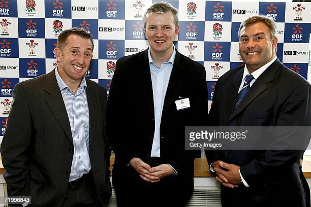 Jason Leonard Gareth Wynn Communications Director of EDF Energy and Jonathan Davies EDF Energy Ambassadors pictured during the EDF Energy Cup Press...
