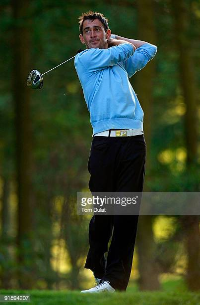Jason Levermore of Clacton tees off from the 17th hole during the SkyCaddie PGA Fourball Championship at Forest Pines Golf Club on October 08 2009 in...