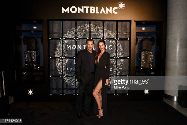 Jason Lewis and Liz Godwin visit the Montblanc Trolley installation during New York Fashion Week bringing together sport and fashion to shine a light...