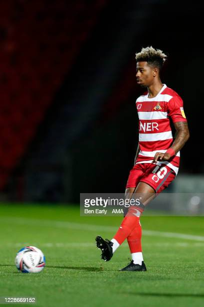 Jason Lokilo of Doncaster Rovers during the EFL Trophy match between Doncaster Rovers v Bradford City at Keepmoat Stadium on September 8 2020 in...