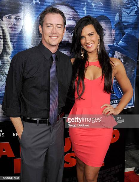 Jason London and Natalie Burn arrive at the Los Angeles premiere of 'A Haunted House 2' at Regal Cinemas LA Live on April 16 2014 in Los Angeles...