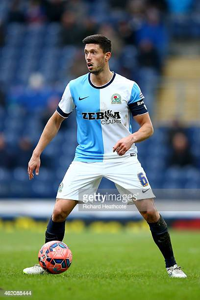 Jason Lowe of Blackburn in action during the FA Cup Fourth Round match between Blackburn Rovers and Swansea City at Ewood park on January 24 2015 in...