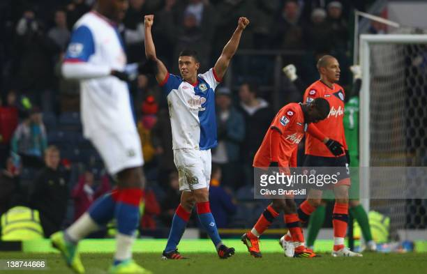 Jason Lowe of Blackburn Rovers celebrates at the final whistle during the Barclays Premier League match between Blackburn Rovers and Queens Park...