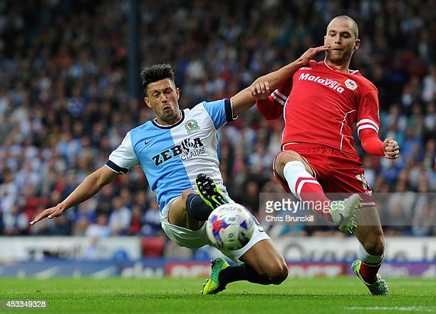 Jason Lowe of Blackburn Rovers in action with Matt Connolly of Cardiff City during the Sky Bet Championship match between Blackburn Rovers and...