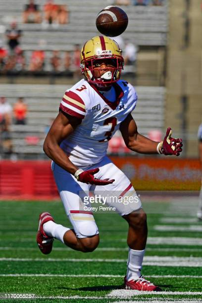 Jason Maitre of the Boston College Eagles eyes a potential interception against the Rutgers Scarlet Knights during the fourth quarter at SHI Stadium...