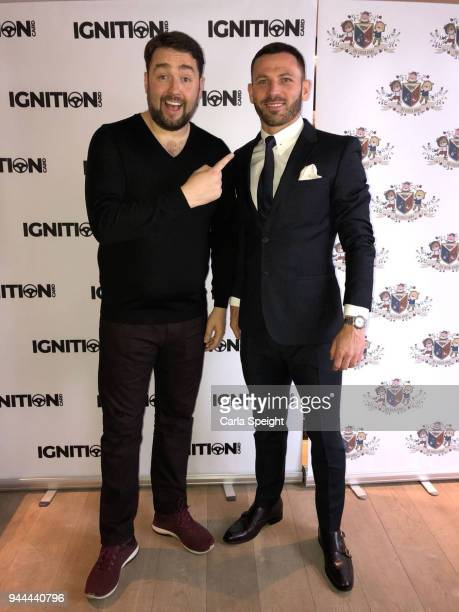 Jason Manford and Phil Bardsley pose during the Ignition Card Launch at The Colony on April 10 2018 in Wilmslow England