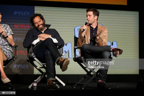 Jason Mantzoukas and John Mulaney speak onstage at the #NETFLIXFYSEE Animation Panel Featuring 'Big Mouth' and 'BoJack Horseman' at Netflix FYSEE at...
