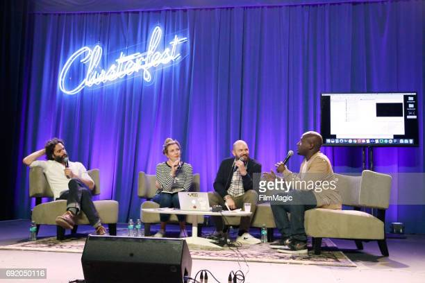 Jason Mantzoukas June Diane Raphael Paul Scheer and Hannibal Buress perform onstage at the Larkin Comedy Club during Colossal Clusterfest at Civic...