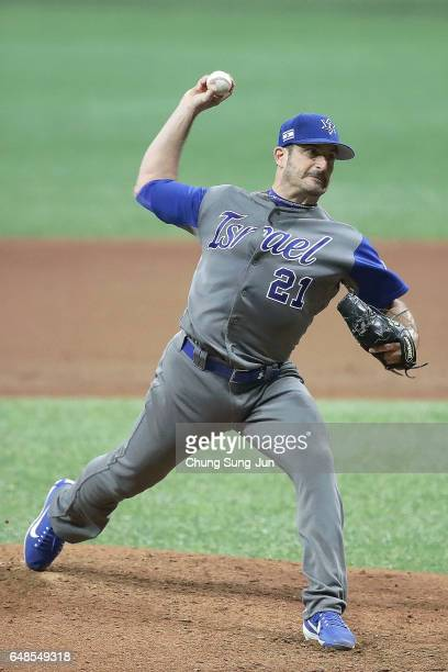 Jason Marquis of Israel pitches in the third inning of the World Baseball Classic Pool A Game One between Israel and South Korea at Gocheok Sky Dome...