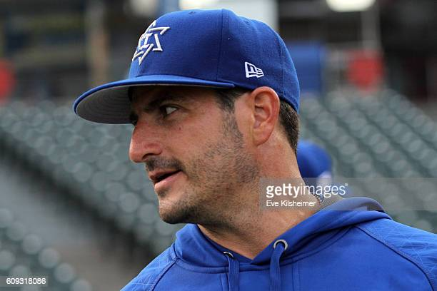 Jason Marquis of Team Israel looks on during the workout for the 2016 World Baseball Classic Qualifier at MCU Park on Tuesday September 20 2016 in...