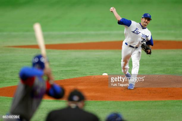 Jason Marquis of Team Israel pitches in the first inning during Game 1 of Pool E against Team Cuba at the Tokyo Dome on Sunday March 12 2017 in Tokyo...